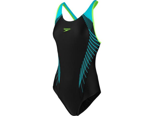 speedo Fit Laneback Swimsuit Dame black/aquasplash/bright zest